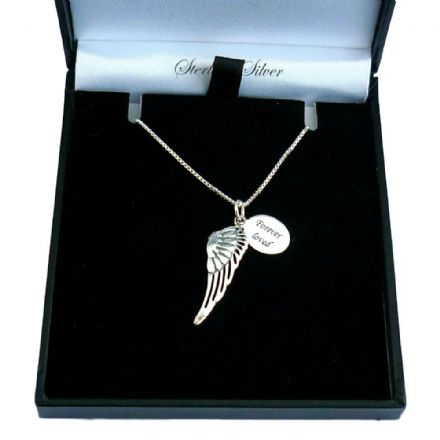 Angel Wing Necklace with Engraving, Sterling Silver